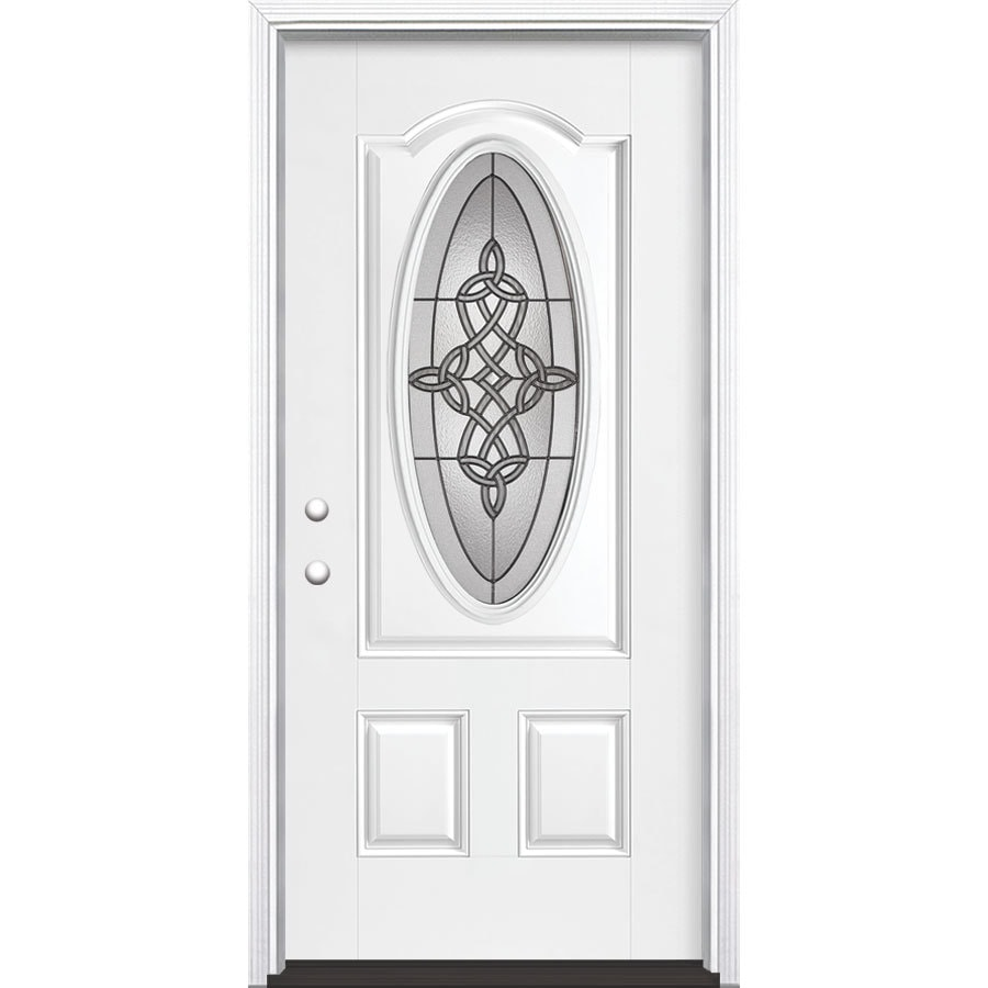 Masonite Dylan 2-Panel Insulating Core Oval Lite Right-Hand Inswing Artic White Fiberglass Painted Prehung Entry Door (Common: 36-in x 80-in; Actual: 37.5-in x 81.5-in)