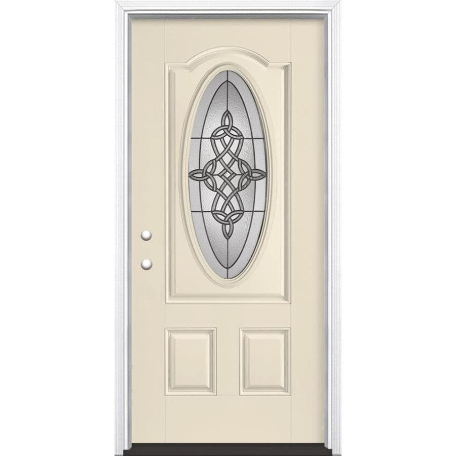 Masonite Dylan 2-Panel Insulating Core Oval Lite Right-Hand Inswing Bisque Fiberglass Painted Prehung Entry Door (Common: 36-in x 80-in; Actual: 37.5-in x 81.5-in)