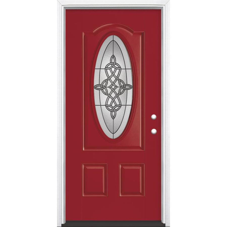 Masonite Dylan 2-Panel Insulating Core Oval Lite Left-Hand Inswing Roma Red Fiberglass Painted Prehung Entry Door (Common: 36-in x 80-in; Actual: 37.5-in x 81.5-in)