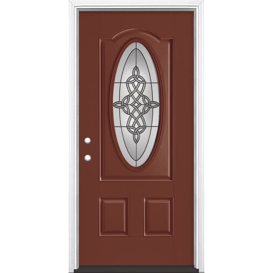 Masonite Dylan 2-Panel Insulating Core Oval Lite Right-Hand Inswing Fox Tail Fiberglass Painted Prehung Entry Door (Common: 36-in x 80-in; Actual: 37.5-in x 81.5-in)