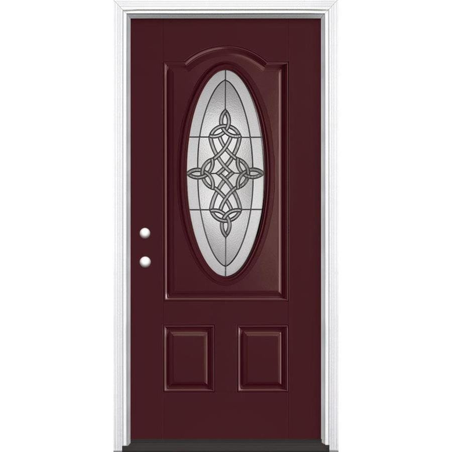 Masonite Dylan 2-Panel Insulating Core Oval Lite Right-Hand Inswing Currant Fiberglass Painted Prehung Entry Door (Common: 36-in x 80-in; Actual: 37.5-in x 81.5-in)
