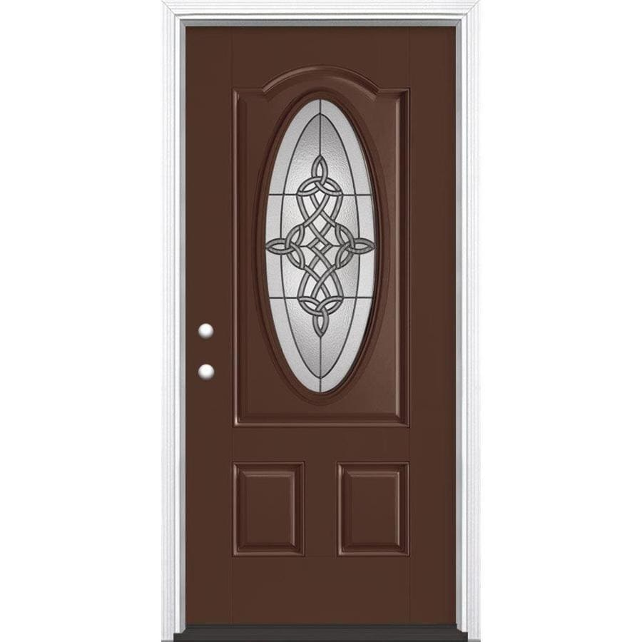Masonite Dylan 2-Panel Insulating Core Oval Lite Right-Hand Inswing Chocolate Fiberglass Painted Prehung Entry Door (Common: 36-in x 80-in; Actual: 37.5-in x 81.5-in)
