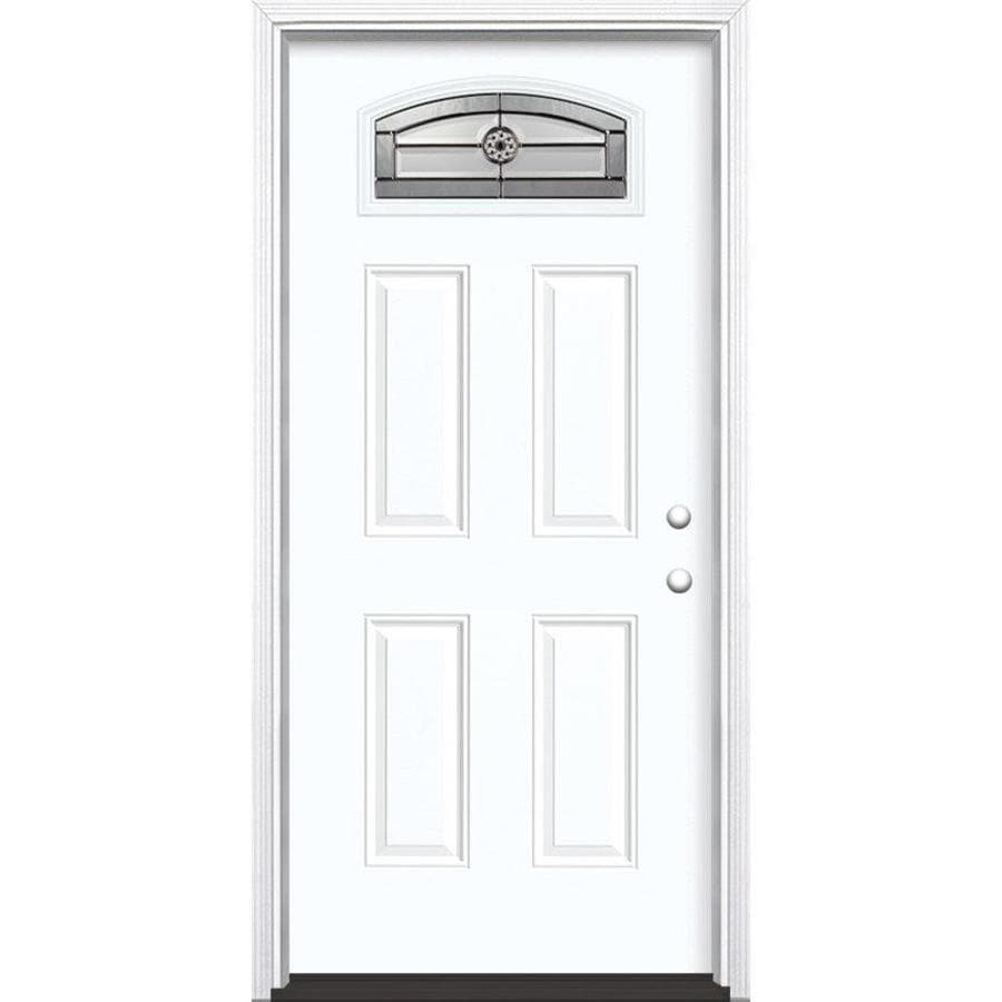 Masonite Elan 4-Panel Insulating Core Morelight Left-Hand Inswing Artic White Fiberglass Painted Prehung Entry Door (Common: 36-in x 80-in; Actual: 37.5-in x 81.5-in)