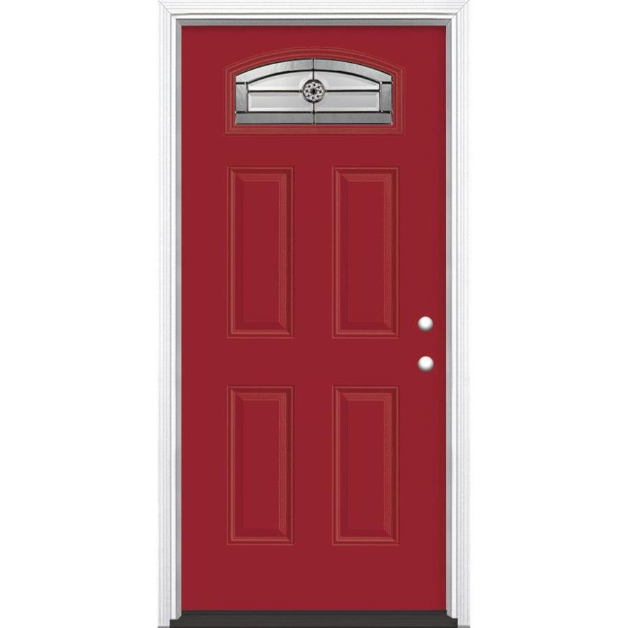Masonite Elan 4-Panel Insulating Core Morelight Left-Hand Inswing Roma Red Fiberglass Painted Prehung Entry Door (Common: 36-in x 80-in; Actual: 37.5-in x 81.5-in)