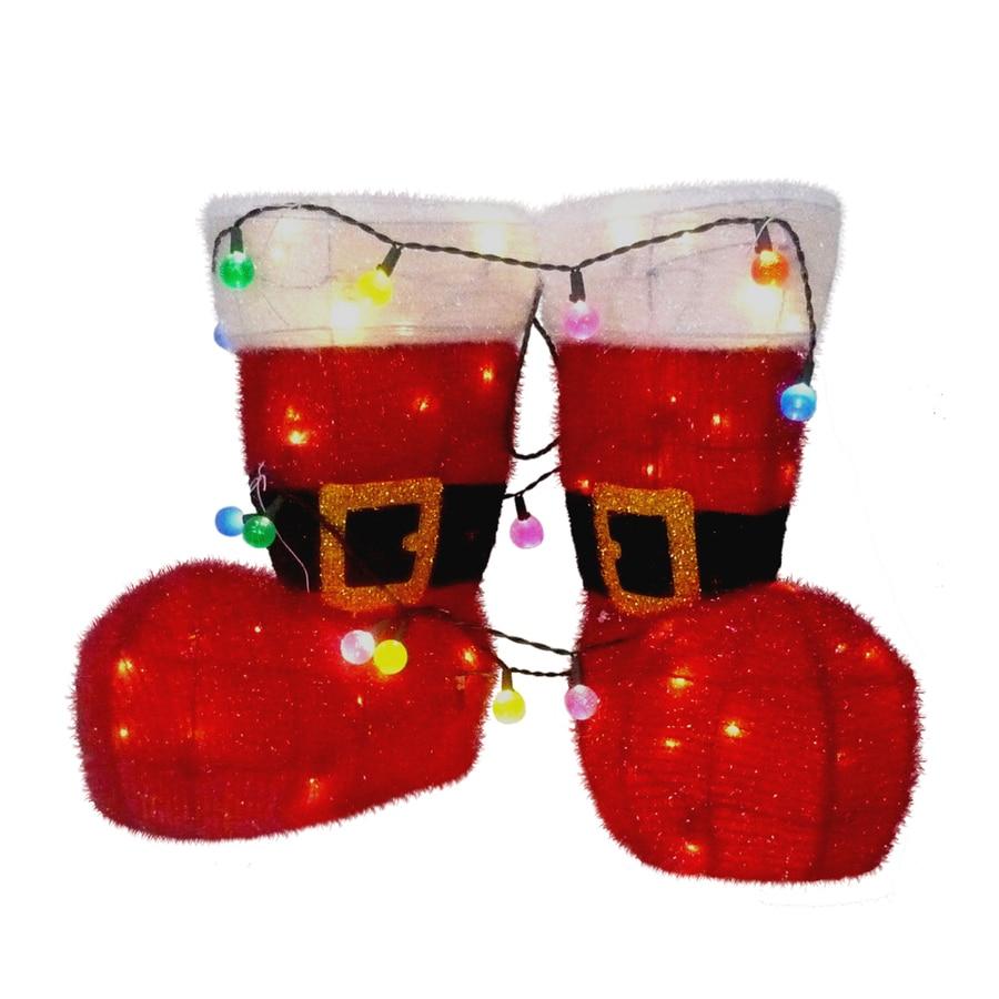 Holiday Living 1-1/2-ft Tinsel Santa Christmas Boots