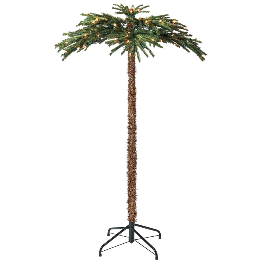 Holiday Living 5-ft Indoor/Outdoor Palm Pre-Lit Decorative Artificial Tree 100 Clear Incandescent Lights