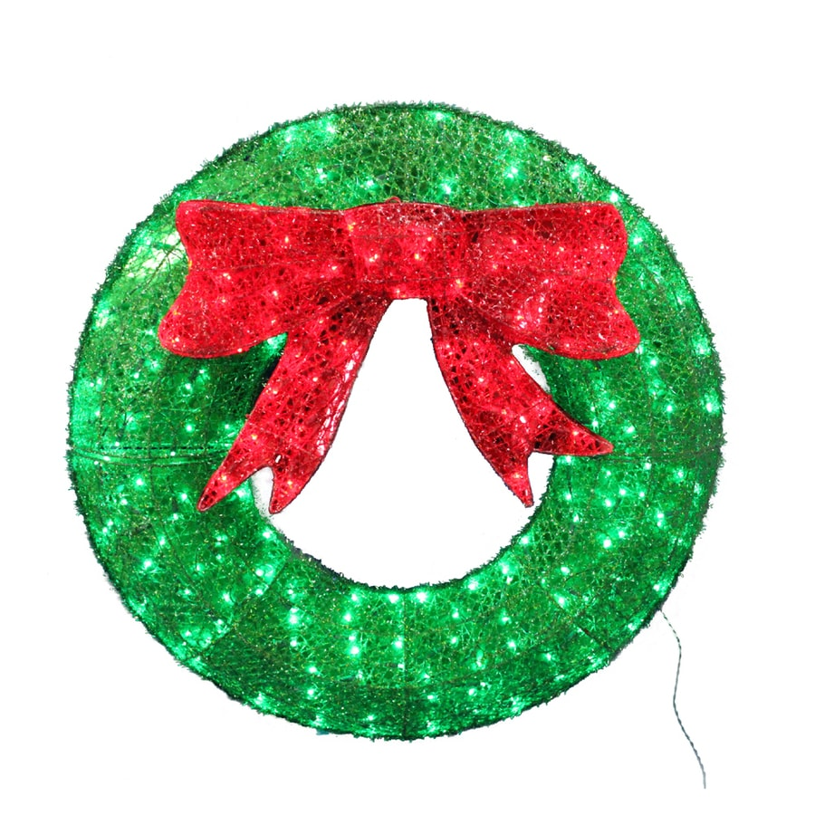 Holiday Living Lighted Wreath Outdoor Christmas Decoration with Green Constant LED Lights