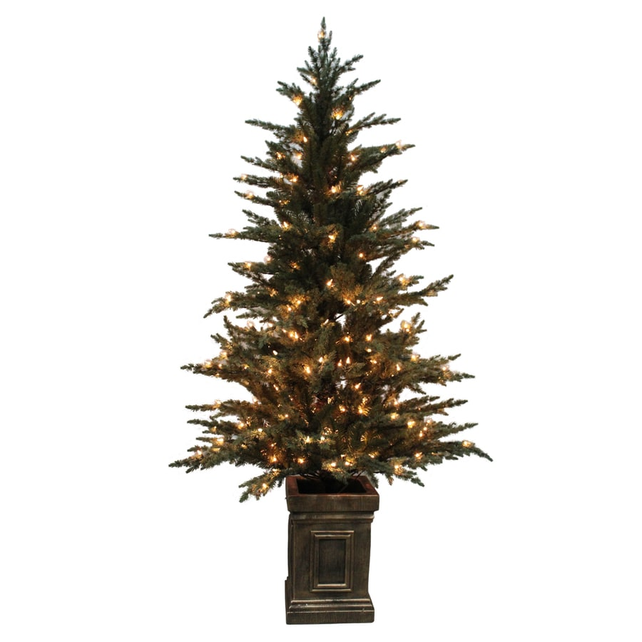 Shop holiday living 5 5 ft pre lit serbian spruce full for Artificial christmas decoration tree
