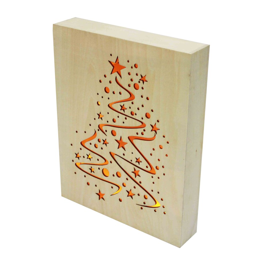 Holiday Living Pre-Lit Wood Wall-Mounted Lamp with Constant White LED Lights