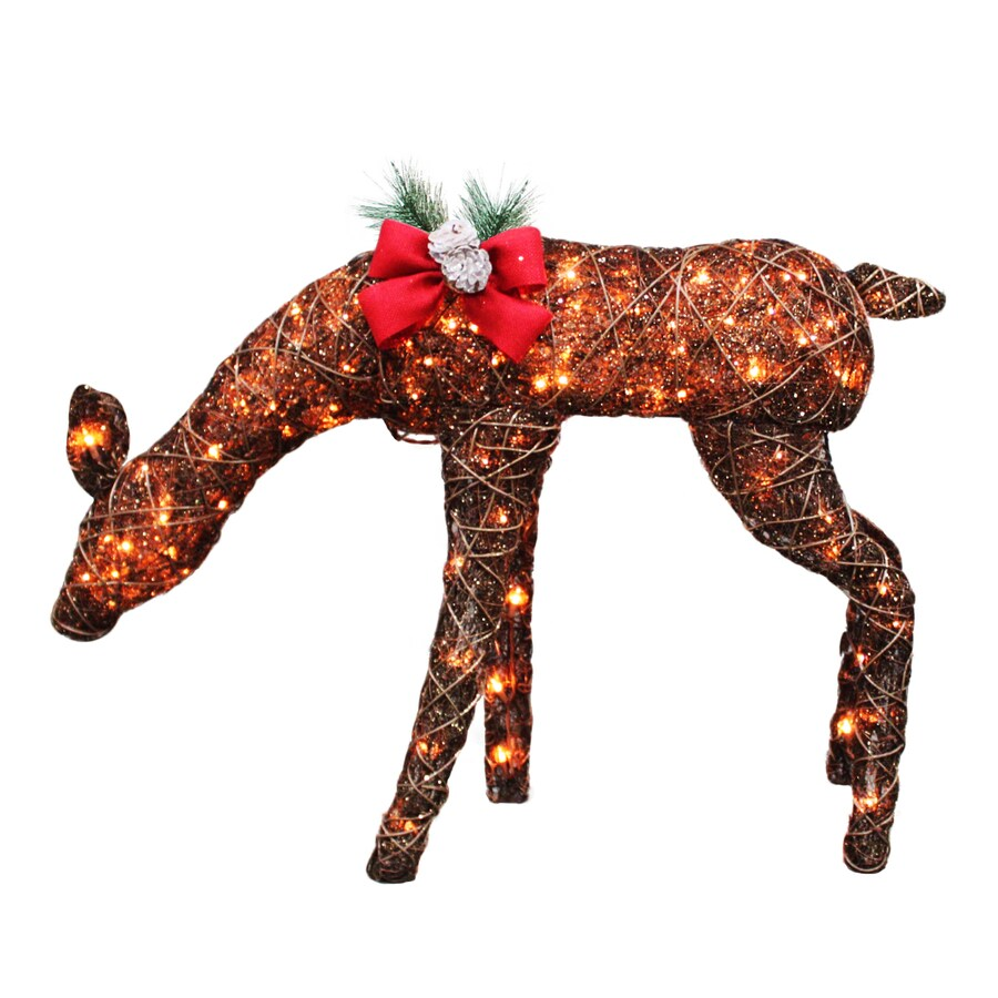 Holiday Living Pre-Lit Rattan Freestanding Reindeer with Constant White Incandescent Lights