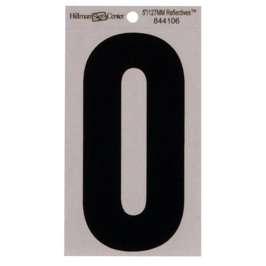 The Hillman Group 5-in Reflective Black House Number 0