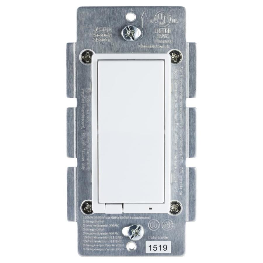 GE ZigBee 1-Switch 5-Amp Single Pole 3-Way 4-Way Wireless White Indoor Rocker Dimmer