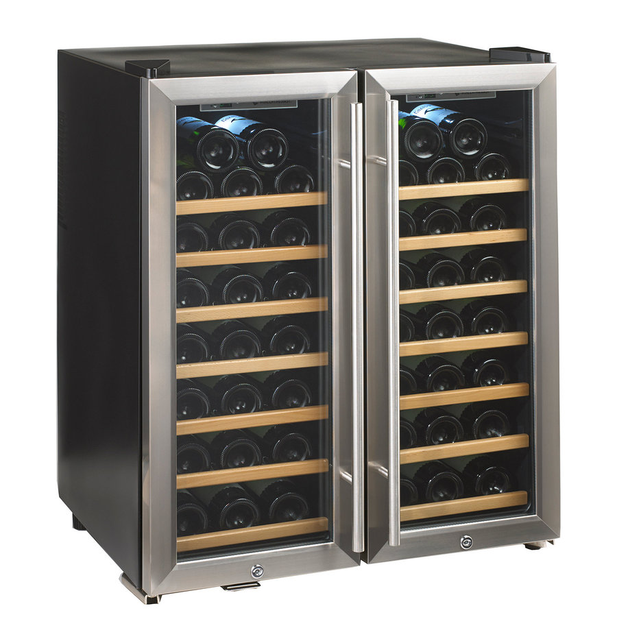 Wine Enthusiast 48-Bottle Stainless Steel Dual Zone Wine Chiller