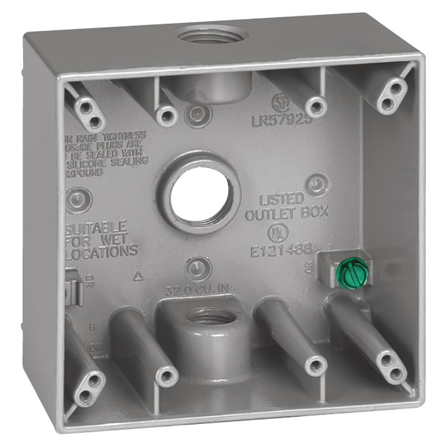 Gampak 31-cu in 2-Gang Metal Square Weather Resistant Wall Electrical Box
