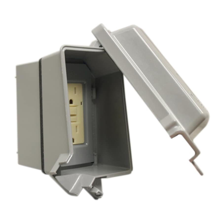 Gampak Metallic Gray 1-Outlet Weatherproof Electrical Outlet Cover