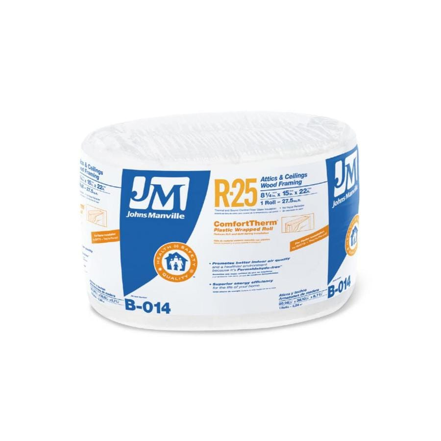 Shop johns manville comforttherm r25 27 5 sq ft fiberglass for Sound fiberglass insulation