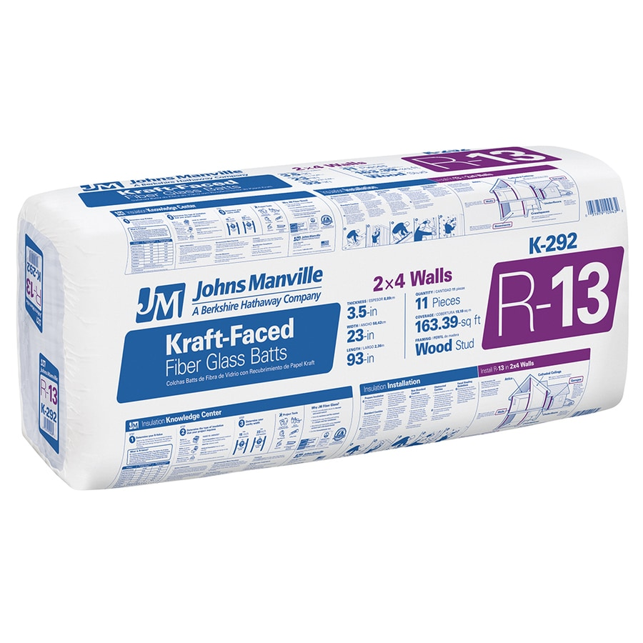 Johns Manville R13 163.39-sq ft Faced Fiberglass Batt Insulation with Sound Barrier (23-in W x 93-in L)