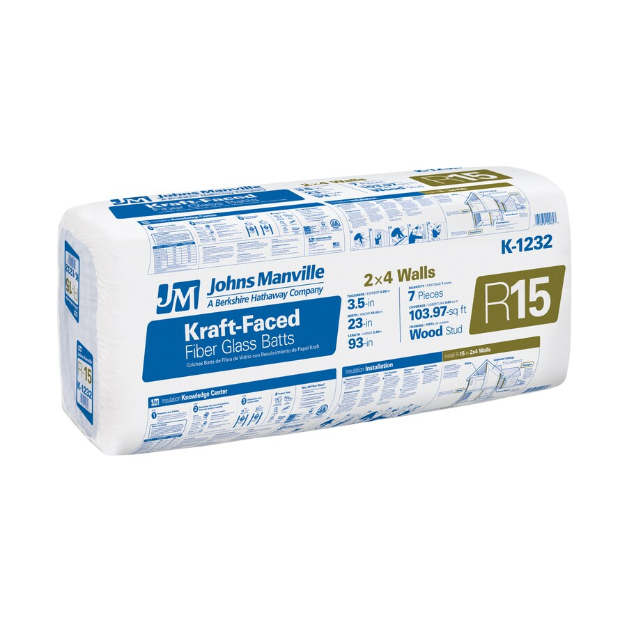 Johns Manville R15 103.97-sq ft Faced Fiberglass Batt Insulation with Sound Barrier (23-in W x 93-in L)