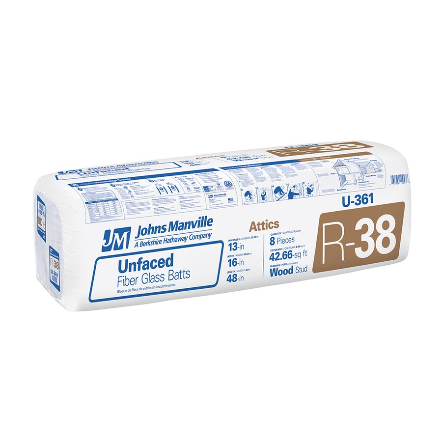 Johns Manville R38 42.66-sq ft Unfaced Fiberglass Batt Insulation with Sound Barrier (16-in W x 48-in L)