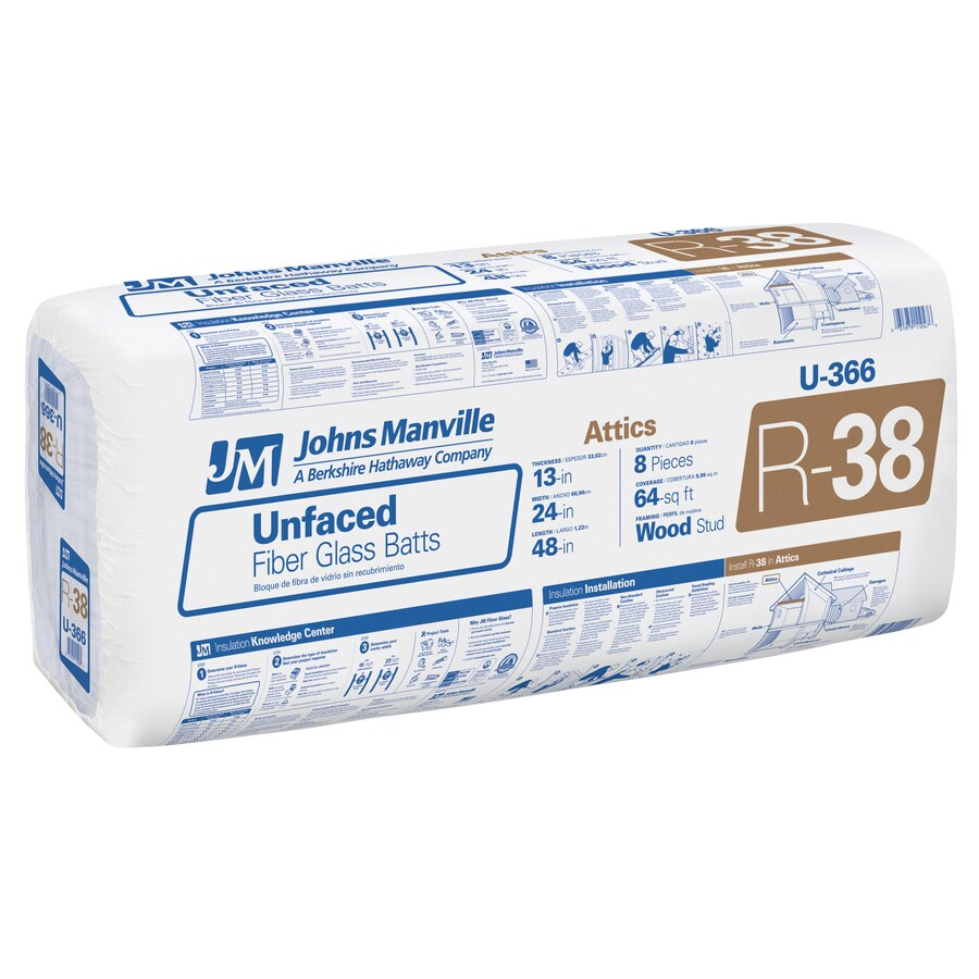 Johns Manville R38 64-sq ft Unfaced Fiberglass Batt Insulation with Sound Barrier (24-in W x 48-in L)