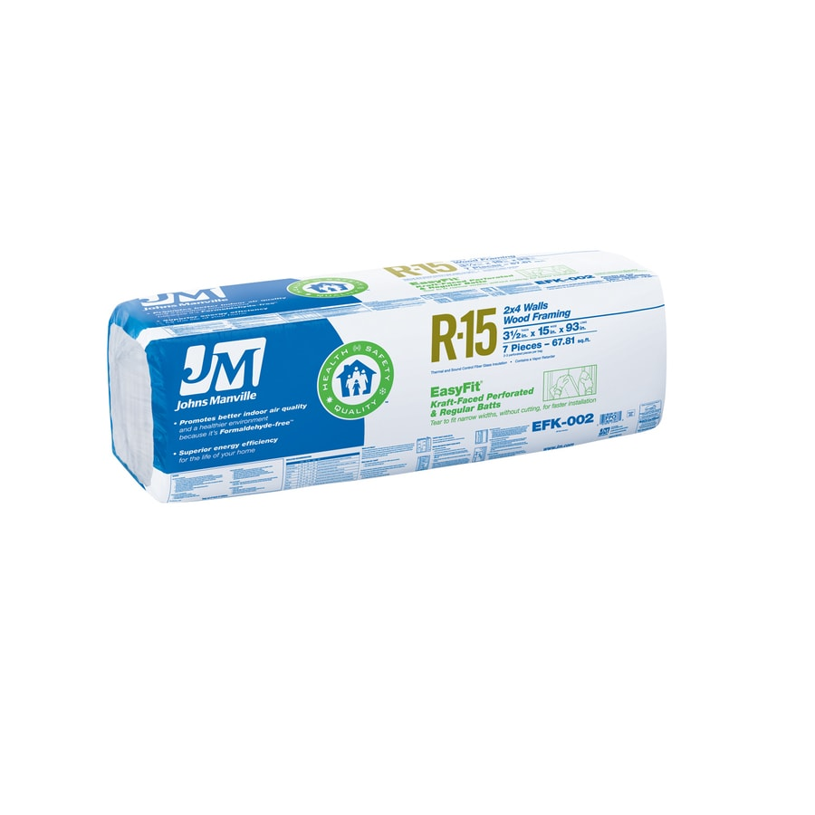 Johns Manville EasyFit R15 67.81-sq ft Faced Fiberglass Batt Insulation with Sound Barrier (15-in W x 93-in L)