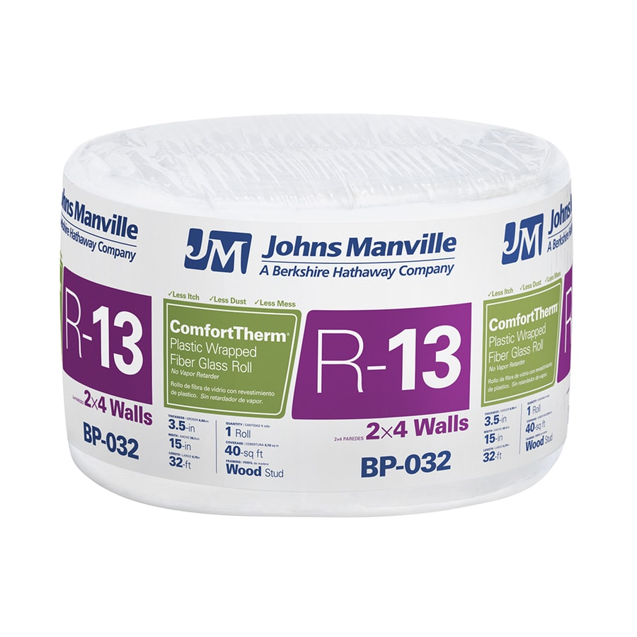 Johns Manville ComfortTherm R13 40-sq ft Fiberglass Roll Insulation with Sound Barrier (15-in W x 32-ft L)