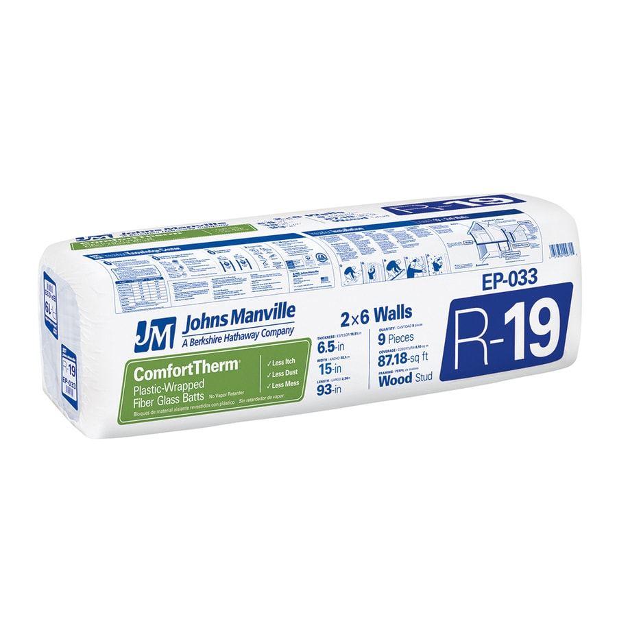 Johns Manville ComfortTherm R19 87.18-sq ft Unfaced Fiberglass Batt Insulation with Sound Barrier (15-in W x 93-in L)