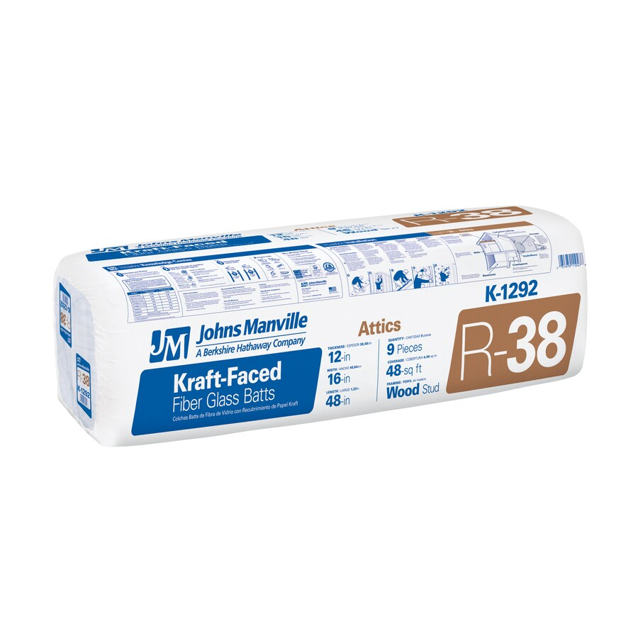 Johns Manville EasyFit R38 48-sq ft Faced Fiberglass Batt Insulation with Sound Barrier (16-in W x 48-in L)