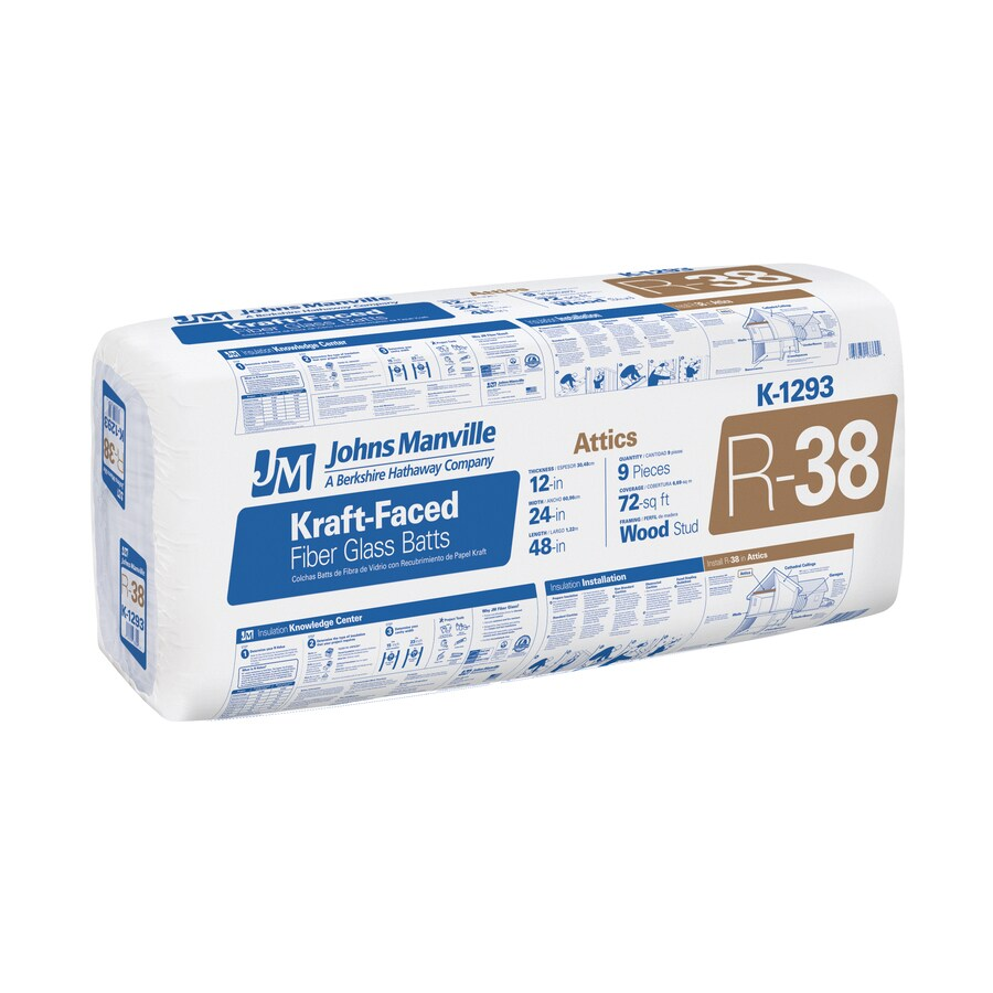 Johns Manville EasyFit R38 72-sq ft Faced Fiberglass Batt Insulation with Sound Barrier (24-in W x 48-in L)