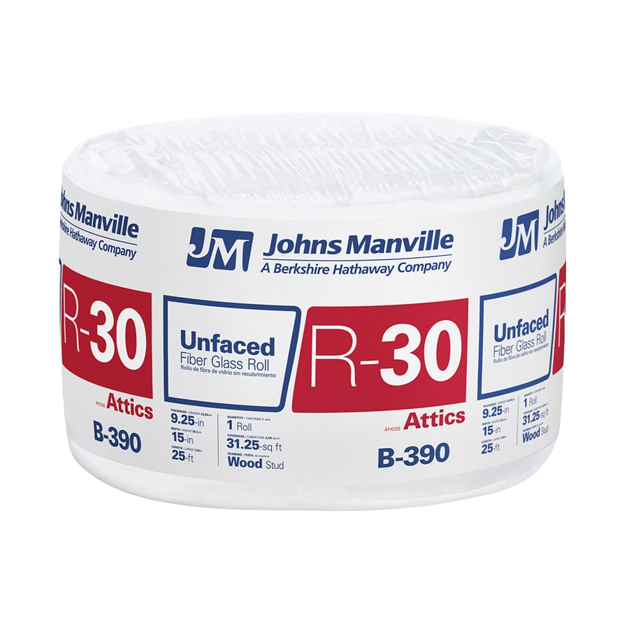 Johns Manville R30 31.25-sq ft Unfaced Fiberglass Roll Insulation with Sound Barrier (15-in W x 25-ft L)