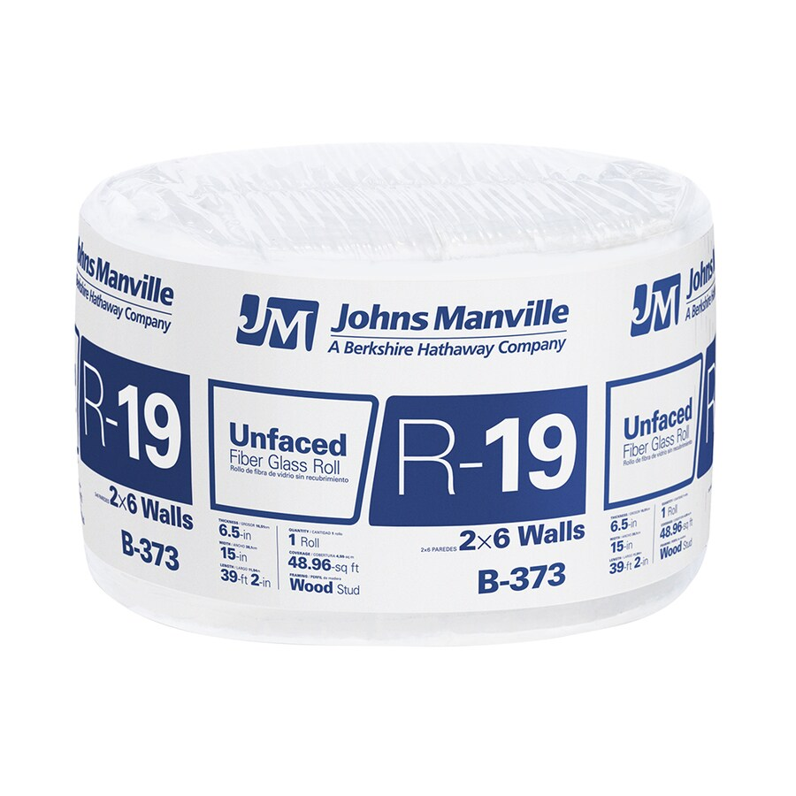 Johns Manville R19 48.96-sq ft Unfaced Fiberglass Roll Insulation with Sound Barrier (15-in W x 39.16-ft L)
