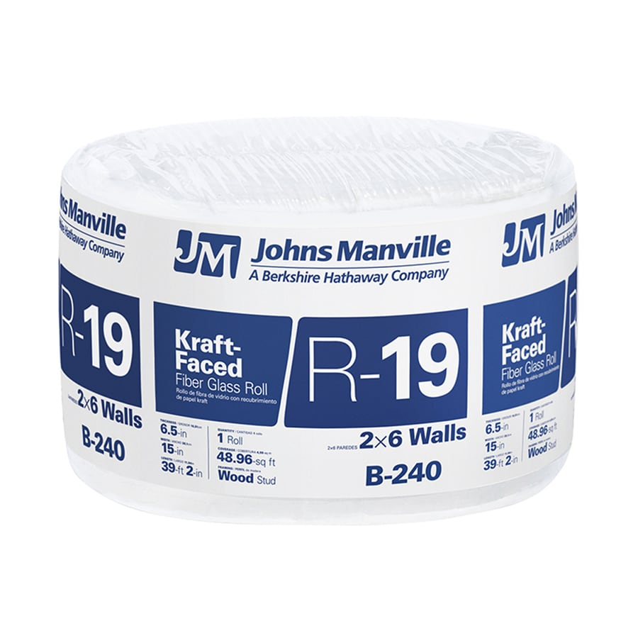 Johns Manville R19 48.96-sq ft Fiberglass Roll Insulation with Sound Barrier (15-in W x 39.16-ft L)