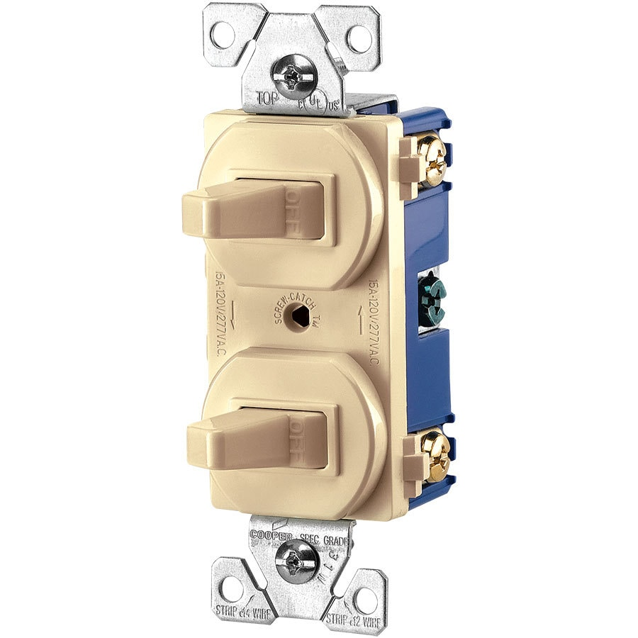 Eaton 2-Switch 15-Amp Single Pole Ivory Indoor Toggle Light Switch