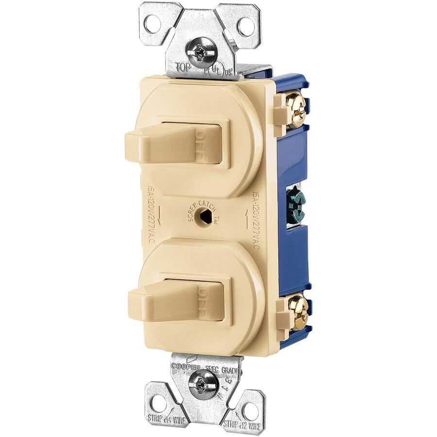Eaton 2-Switch 15-Amp 3-Way Single Pole Ivory Indoor Toggle Light Switch