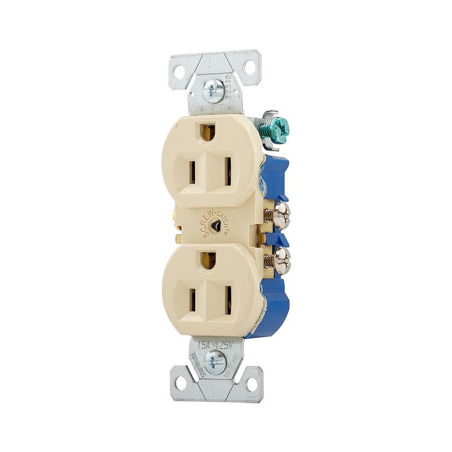 Eaton 15-Amp 125-Volt Ivory Indoor Duplex Wall Outlet