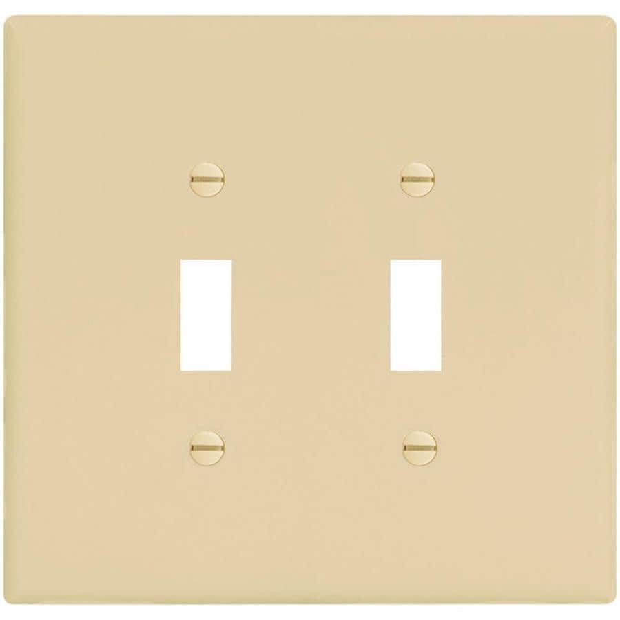 Eaton 2-Gang Ivory Double Toggle Wall Plate
