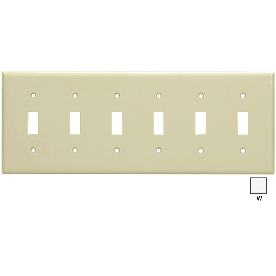 Cooper Wiring Devices 6-Gang White Toggle Wall Plate