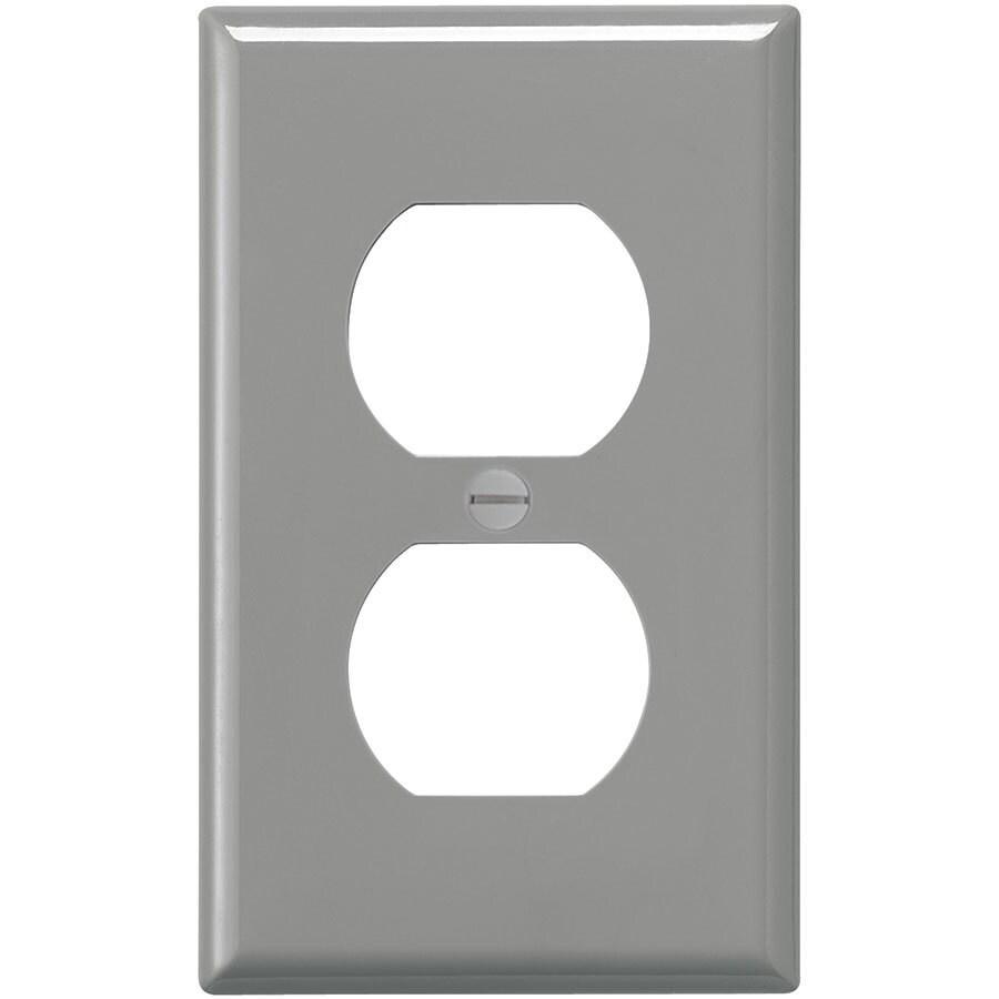 Eaton 1-Gang Gray Single Duplex Wall Plate