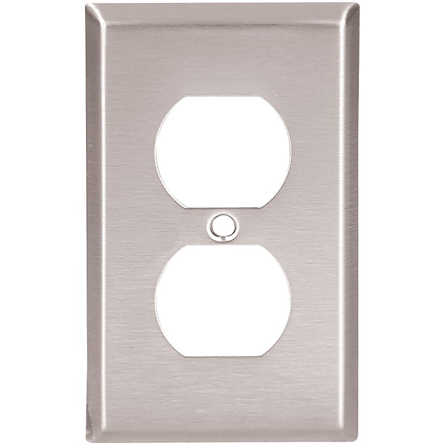 Eaton 1-Gang Stainless Steel Single Duplex Wall Plate