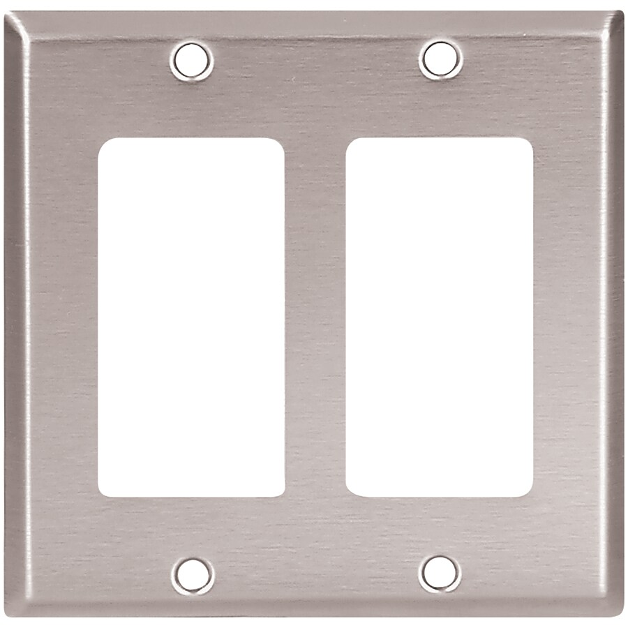 Eaton 2-Gang Stainless Steel Double Decorator Wall Plate