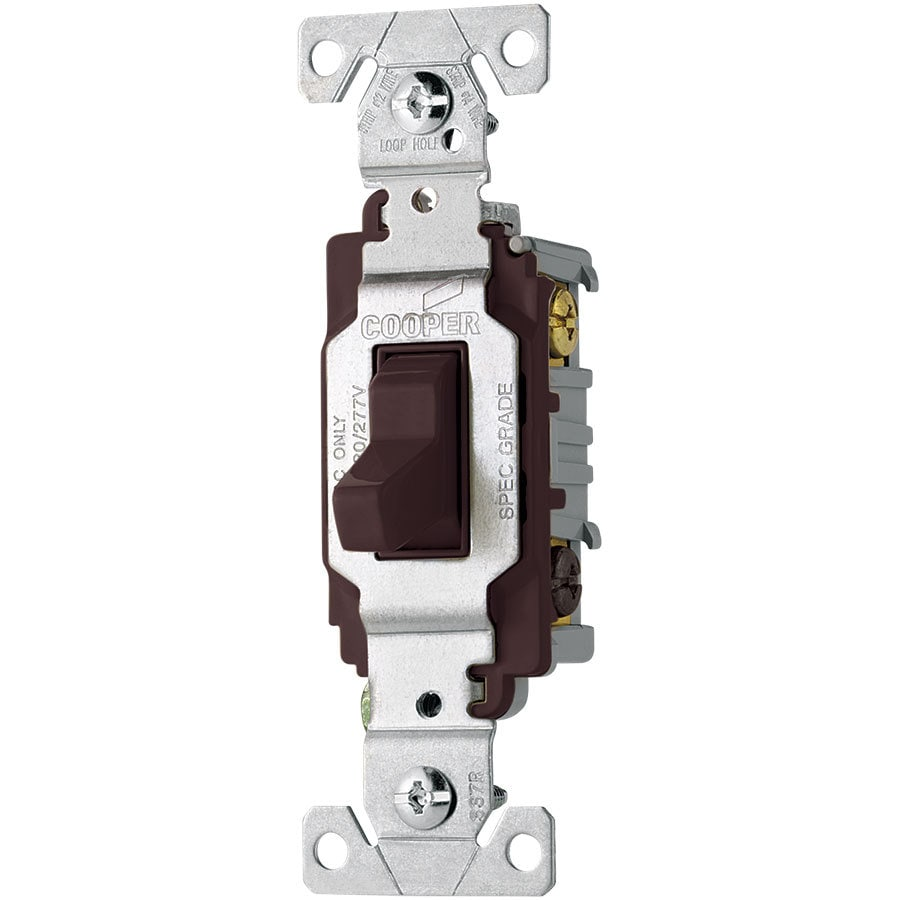 Eaton 20-Amp 3-Way Single Pole Brown Indoor Toggle Light Switch