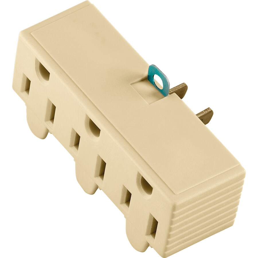 Cooper Wiring Devices 15-Amp 2-Wire to 3-Wire Single to Triple Ivory Basic Adapter