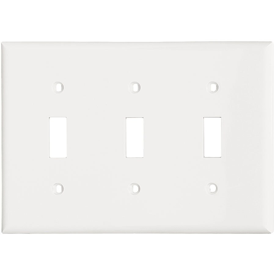 Eaton 3-Gang White Triple Toggle Wall Plate