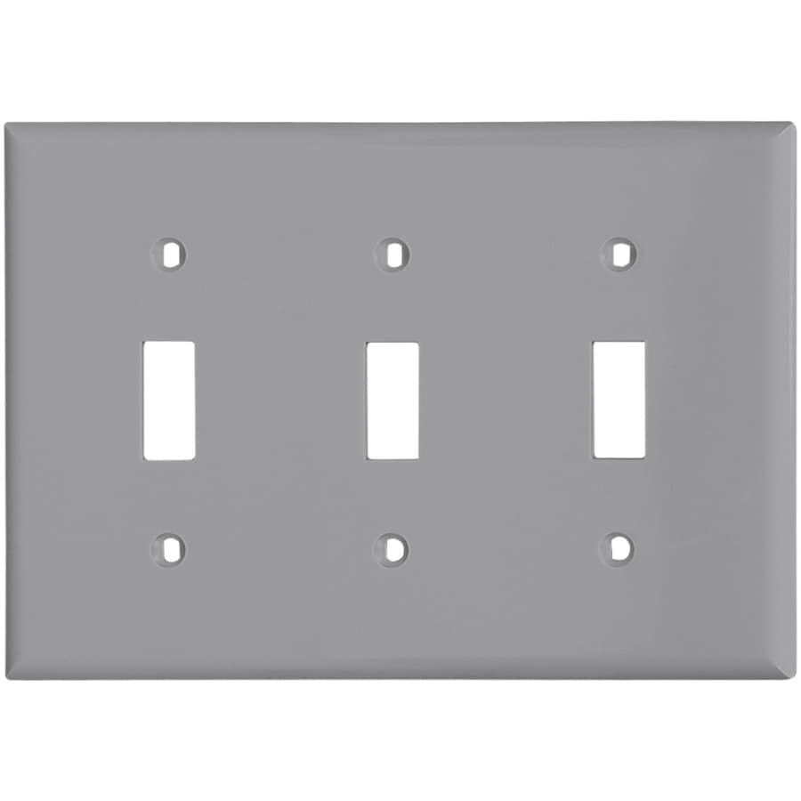 Cooper Wiring Devices 3-Gang Gray Toggle Wall Plate