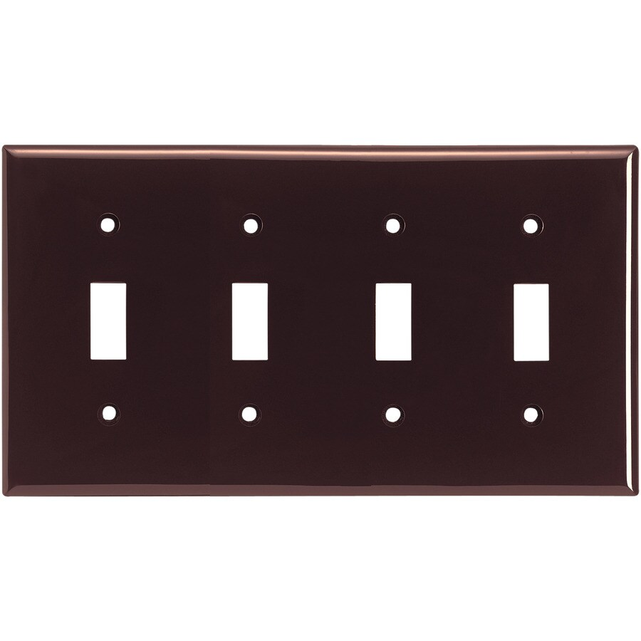 Cooper Wiring Devices 4-Gang Brown Toggle Wall Plate