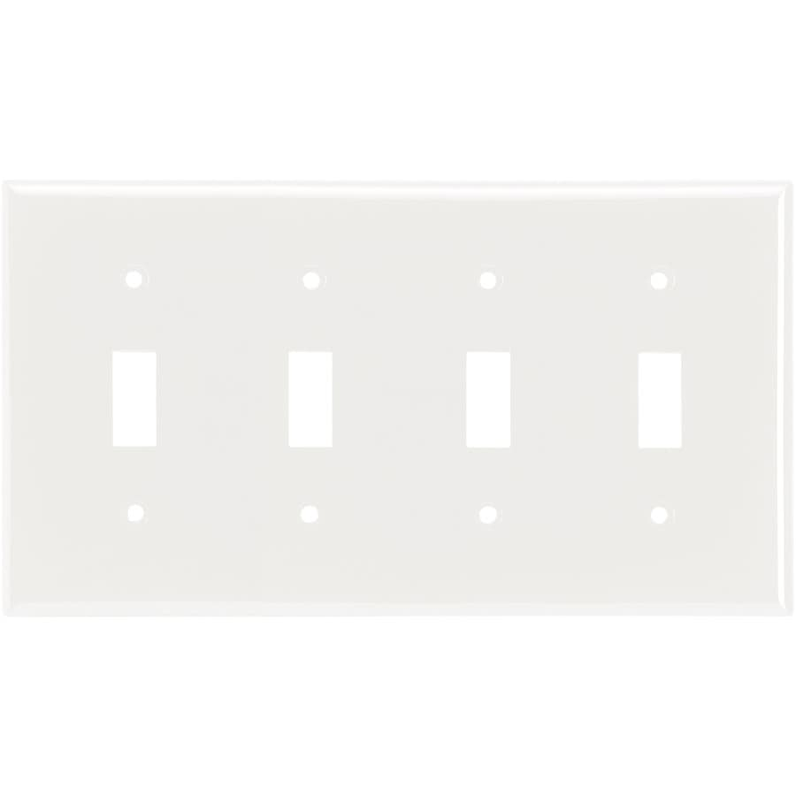 Cooper Wiring Devices 4-Gang White Toggle Wall Plate