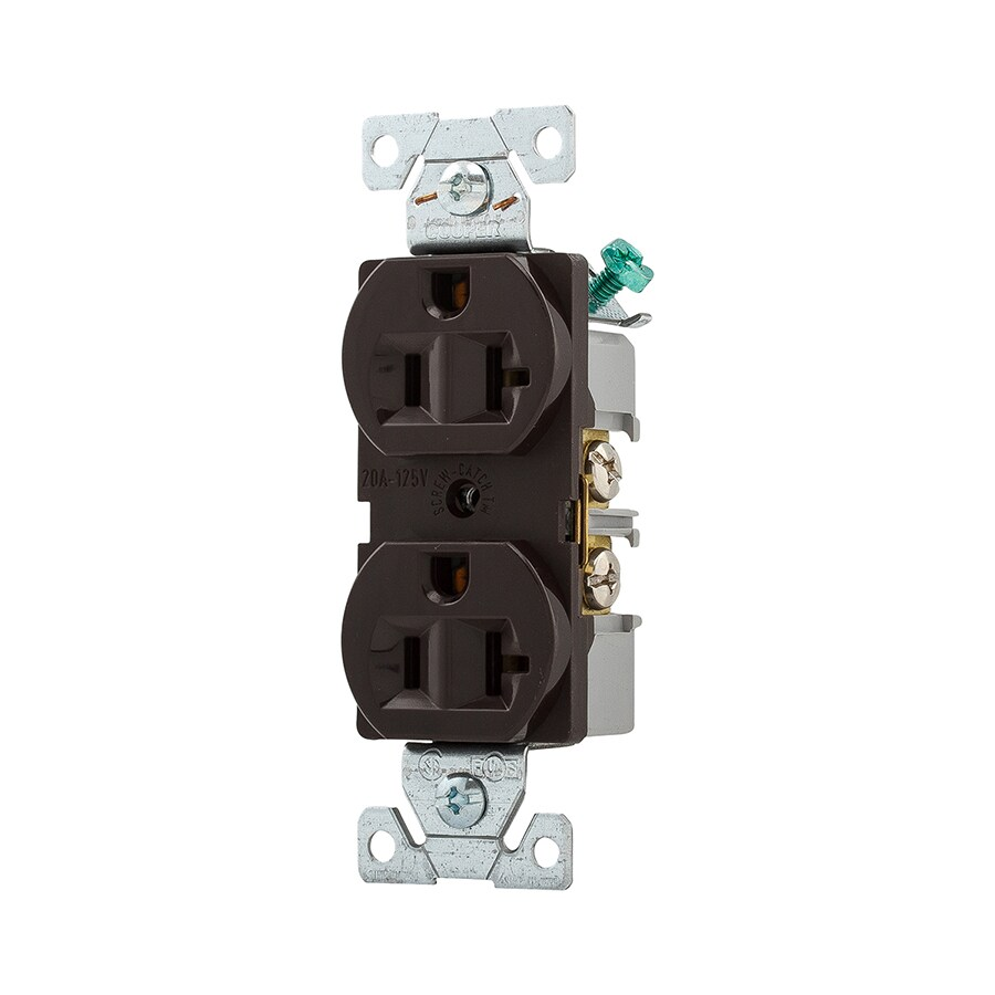 Eaton 20-Amp 125-Volt Brown Indoor Duplex Wall Outlet