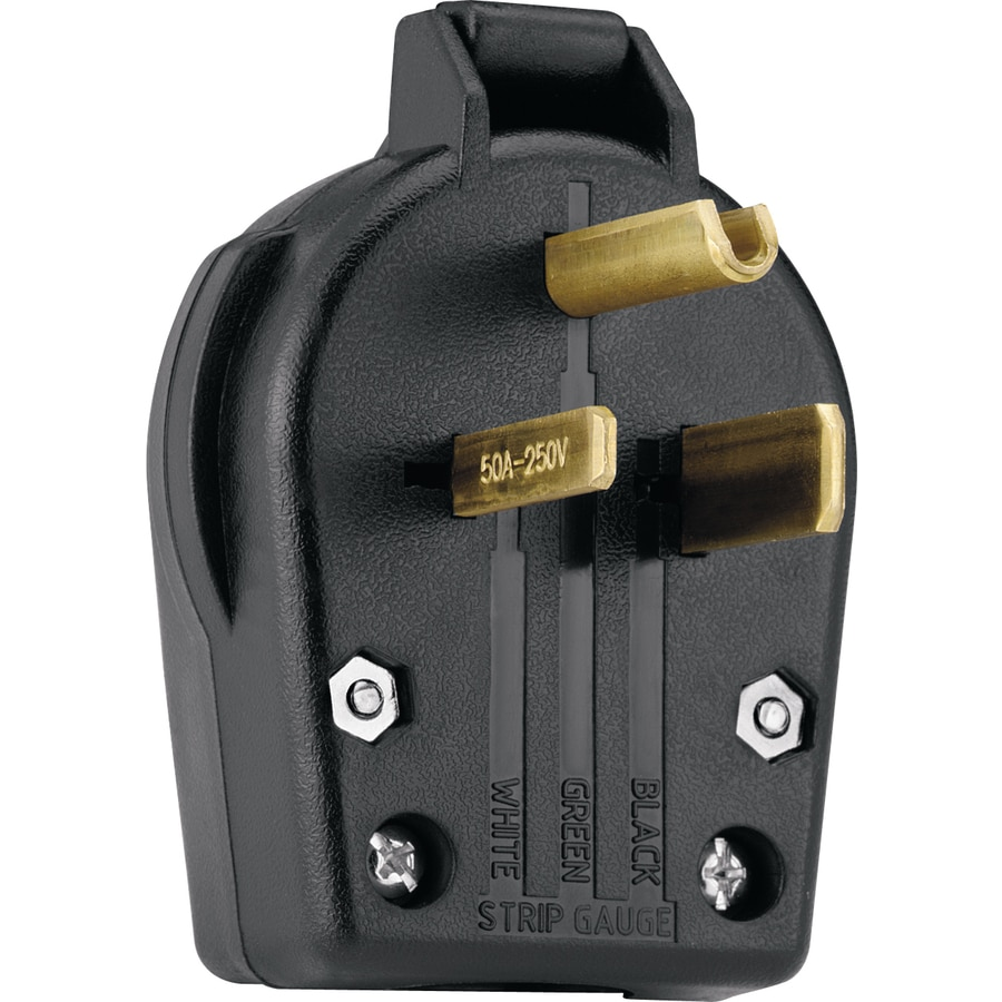 Cooper Wiring Devices 50-Amp 250-Volt Black 3-Wire Plug