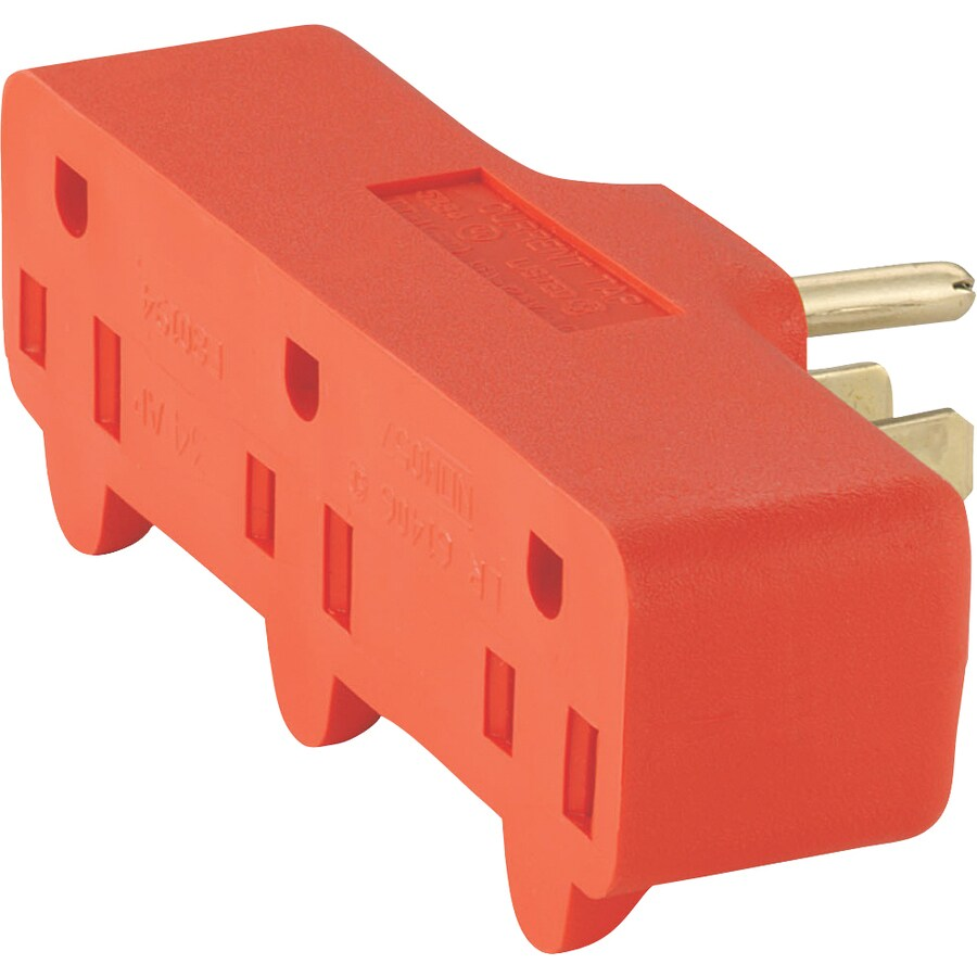 Cooper Wiring Devices 15-Amp 3-Wire Grounding Single to Triple Orange Basic Adapter