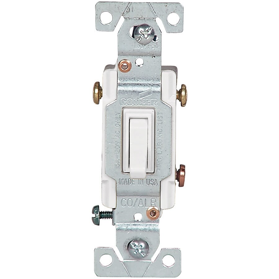 Eaton 15-Amp 3-Way Single Pole White Indoor Toggle Light Switch